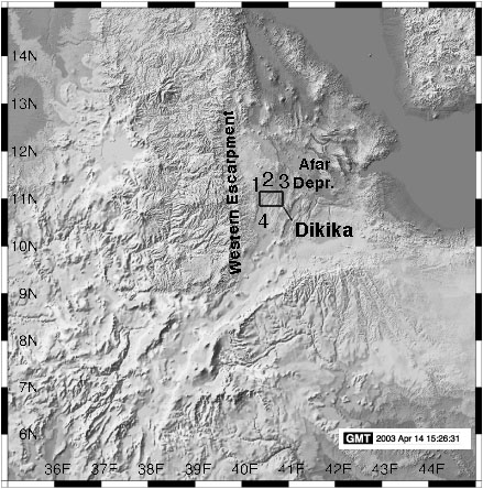 Location map of Dikika, Ethiopia